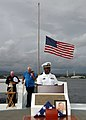 US Navy 071207-N-7310D-044 Lt. Demetric Felton, assigned to Naval Station Pearl Harbor, delivers the opening prayer during an internment ceremony for Richard Adams at the USS Utah Memorial.jpg
