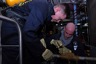 Machinist's mate - Image: US Navy 080827 N 3610L 114 Machinist's Mate 3rd Class Michael Scholten and Machinist's Mate 3rd Class Kyle Auger Albanese repair a simulated cracked pipe