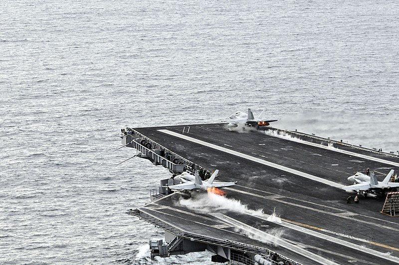 US Navy 081124-N-3659B-305 F-A-18C Hornets launch from the Nimitz-class aircraft carrier USS Ronald Reagan (CVN 76).jpg