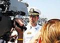 US Navy 110608-N-YT478-041 Cmdr. Kurt Mondlak is interviewed by local media after USS Mahan (DDG 72) returned to Naval Station Norfolk following a.jpg