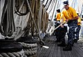 US Navy 110829-N-KB563-214 Chief (select) Aviation Ordnanceman heaves a line aboard the sailing ship Star of India, part of the San Diego Maritime.jpg
