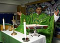 US Navy 111026-N-RJ456-003 Lt. Jose Bautistarojas conducts Roman Catholic Mass in the chapel aboard the Nimitz-class aircraft carrier USS John C. S.jpg