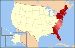 Regional definitions vary from source to source. The states shown in dark red are usually included, while all or portions of the striped states may or may not be considered part of the East Coast.