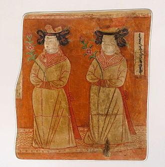 Gaochang - Uyghur princesses, cave 9, wall painting from Bezeklik caves.