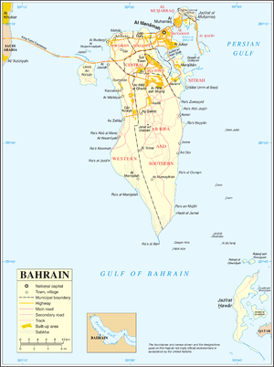 An enlargeable map of the Kingdom of Bahrain