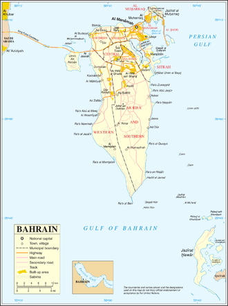 Outline of Bahrain - An enlargeable map of the Kingdom of Bahrain
