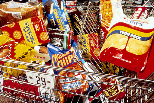 Unhealthy snacks in cart