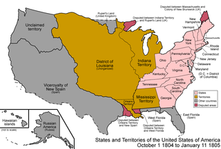 District of Louisiana territory of the USA between 1804-1805