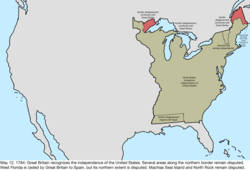 Map of the change to the international disputes involving the United States in central North America on May 12, 1784