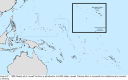 Map of the change to the United States in the Pacific Ocean on August 21, 1959