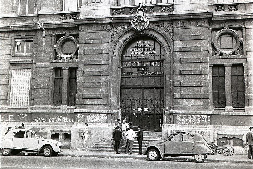 University of Lyon Law School with graffiti June 1968
