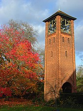 The University of Reading War Memorial, a brick clock tower