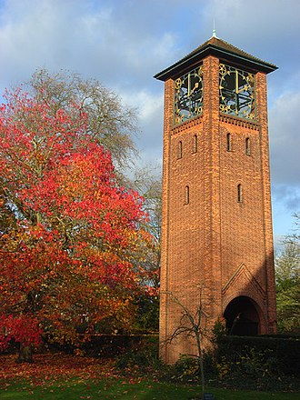 University of Reading - The University of Reading War Memorial clock tower, designed by Herbert Maryon, on the London Road Campus
