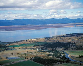 Upper Klamath Lake - Aerial view of Williamson River and Agency Lake