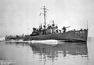 Military career of L. Ron Hubbard - The newly completed subchaser USS PC-815 running trials on the Columbia River on April 13, 1943.