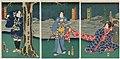 Utagawa Kunisada II - Actors Nakamura Shikan IV as Hananomura Chigusa, actually Shûsaku; Sawamura Tanosuke III as Shiranui Daijin, actually Wakana-hime; and Ichikawa Kobunji I, formerly Tsurusuke, as Washizu no Shimobe Tadashichi.jpg