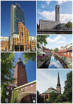 Clockwise from top left: Skrapan, Västerås City Hall, half-timbered buildings alongside Svartån river, Västerås Cathedral and Ottarkontoret