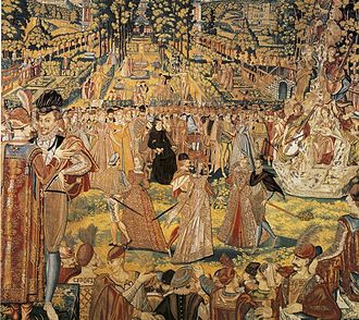 Valois Tapestries -  Valois tapestry depicting the ball held in 1573 at the Tuileries in honour of Polish envoys. Catherine de' Medici is seated in the centre, wearing her habitual widow's black.