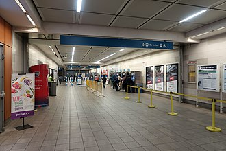 Vancouver City Centre station - Station entry with fare gates and Compass vending machines