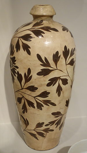 Mantou kiln - Cizhou ware fired in a mantou kiln: meiping vase with slip-painted peony foliage, Jin dynasty, 12th or 13th century