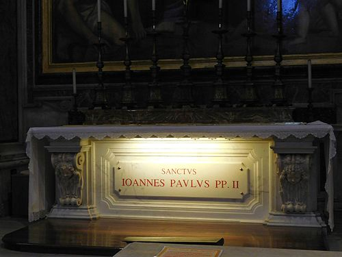 The tomb of John Paul II in the Vatican Chapel of St. Sebastian within St. Peter's Basilica Vaticano sightseeing fc31.jpg
