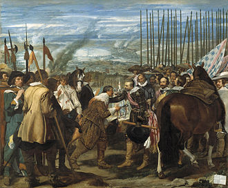 Military art - The Surrender of Breda by Diego Velázquez (1634-35) shows a crowded scene as the two sides meet peacefully to surrender the town.