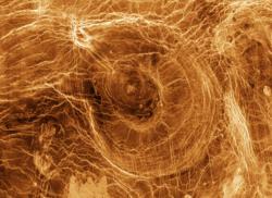 Imagen de la superficie de Venus obtenida por radar el 28 de enero de 1998 por la sonda Magallanes.