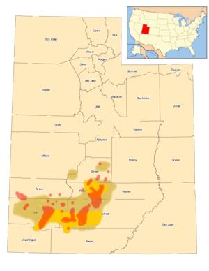 Utah prairie dog - Image: Verbreitung des Utah Präriehundes 1920, 1970 und 1991