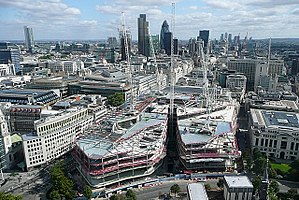 One New Change - One New Change under construction in September 2009, as viewed from St. Paul's Cathedral.