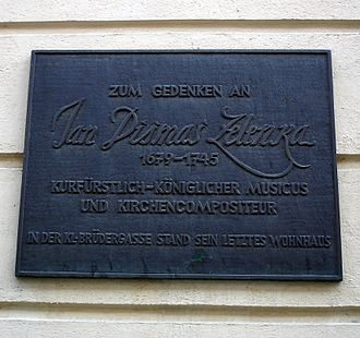 Jan Dismas Zelenka - Plaque in the Kleine Brüdergasse in Dresden commemorating Zelenka's last place of residence.