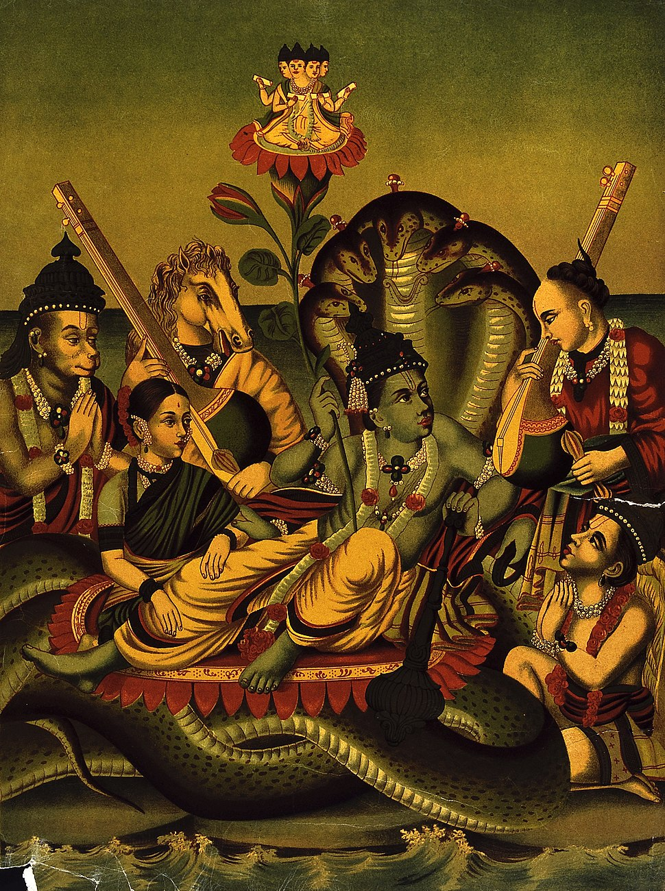 Vishnu resting on the ocean accompanied by Lakshmi, Tumbara, Wellcome V0045080