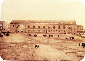 Royal Armoury of Madrid - Back facade of the Antigüa Real Armería de Felipe II (photo in 1884).