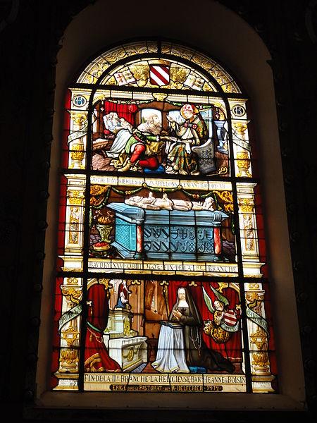 Saint-Ghislain aidant la femme du châtelain à accouché.