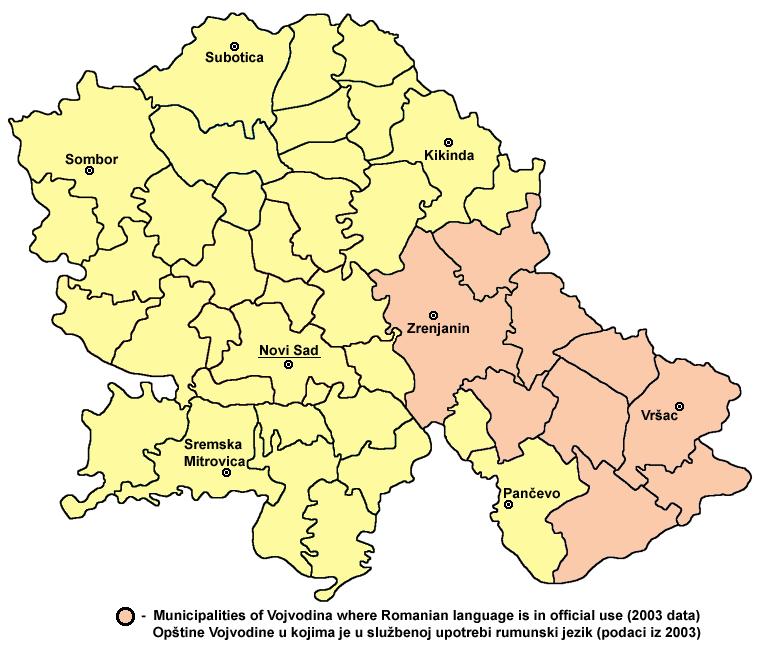 Vojvodina romanian map