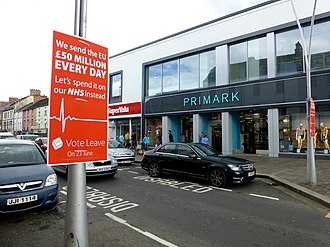 """Campaigning in the 2016 United Kingdom European Union membership referendum - A """"Vote Leave"""" poster in Omagh saying """"We send the EU £50 million every day - Let's spend it on our NHS instead"""""""
