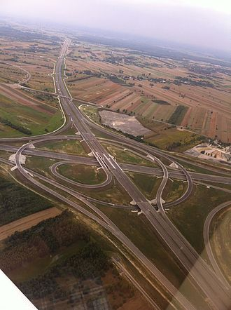 Highways in Poland - A1 - A2  Łódź Północ Interchange