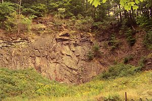 Thuringian Forest - Outcrop of amphibolite and mica schist of the Ruhla Group of the Ruhla Crystalline Complex in a former quarry