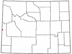 Auburn, Wyoming - Image: WY Map doton Auburn
