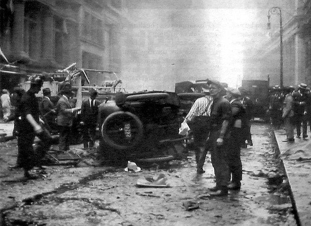 Wall Street bombing 1920 wreckage