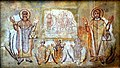 Wall painting of martyred saints, Ananias, Azarias, and Misael from the town of Samalut with Saints Damian and Cosmas. Stucco. 6th century CE. From Wadi Sarga, Egypt. British Museum.jpg