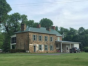 Wappocomo (Romney, West Virginia) - The rear elevation of the 1861 stone addition, viewed from the northwest.