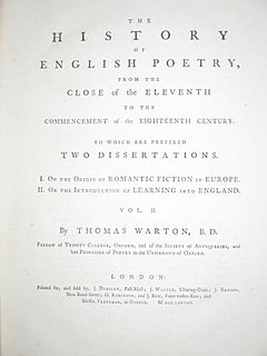 <i>The History of English Poetry</i> book by Thomas Warton