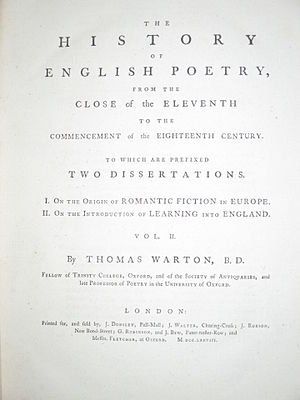 The History of English Poetry - Title page of the first edition of volume 2
