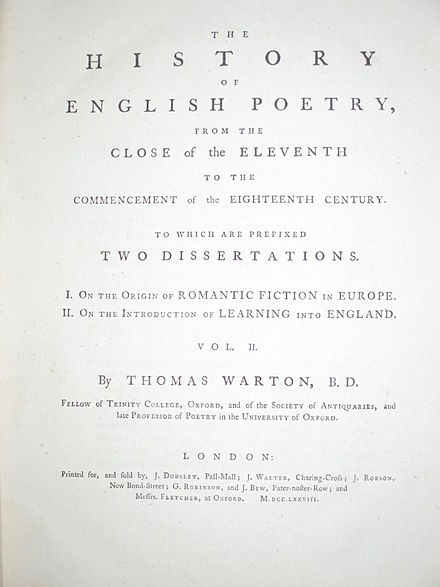 Title page of the first edition of volume 2 Warton's History of English Poetry.JPG