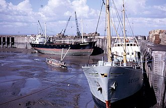 Watchet - Commercial shipping in the harbour in 1973