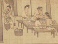 Weighing and sorting the cocoons (Sericulture by Liang Kai, 1200s) adjusted.png