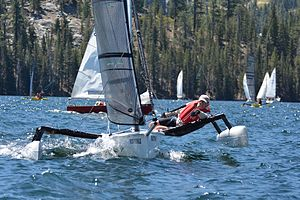 Trimaran - Weta Trimaran racing in the High Sierra Regatta