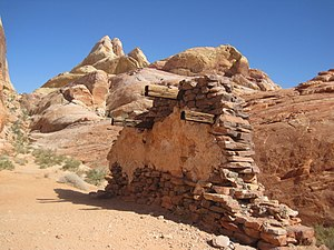 "Valley of Fire State Park - Ruin along the White Domes trail from the movie ""The Professionals"""
