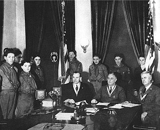 Walter W. Head - Walter W. Head at the White House with U.S. President Franklin D. Roosevelt and Chief Scout Executive James E. West announcing the first national Scout jamboree