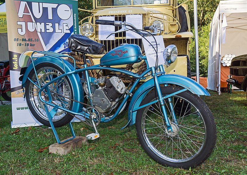 Restored Whizzer motorcycles (assembled in Luxembourg) during a charity organization in Mondorf